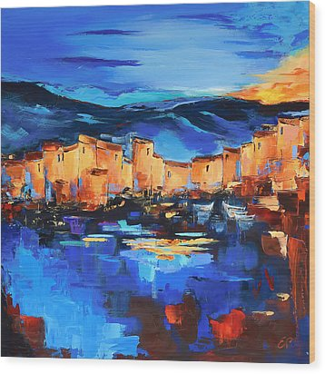 Wood Print featuring the painting Sunset Over The Village 2 By Elise Palmigiani by Elise Palmigiani