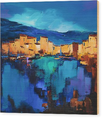 Wood Print featuring the painting Sunset Over The Village 3 By Elise Palmigiani by Elise Palmigiani