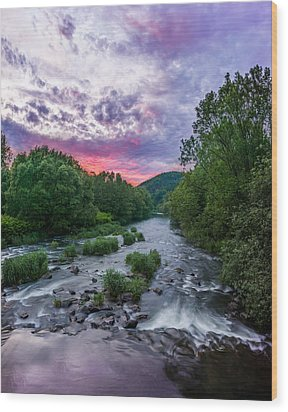 Sunset Over The Vistula In The Silesian Beskids Wood Print