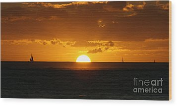 Sunset Over Waikiki Wood Print by Angela DiPietro