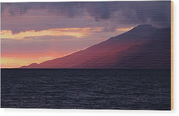 Sunset Over West Maui Wood Print