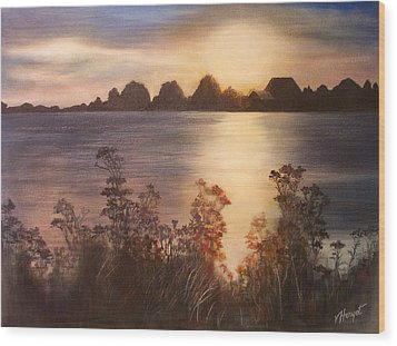 Sunset Over Westham Island Wood Print by Victoria Heryet