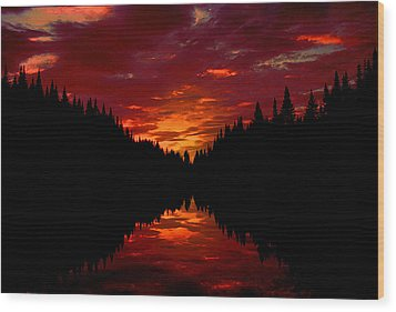 Sunset Over Wetlands Wood Print
