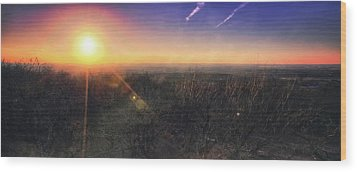 Sunset Over Wisconsin Treetops At Lapham Peak  Wood Print by Jennifer Rondinelli Reilly - Fine Art Photography