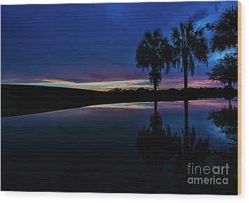 Wood Print featuring the photograph Sunset Palms by Brian Jones