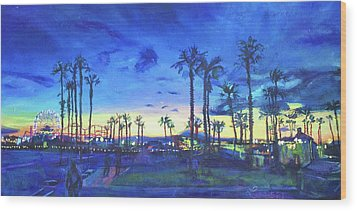 Sunset Palms Santa Monica Wood Print by Bonnie Lambert