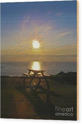 Sunset Picnic Wood Print by Terri Waters