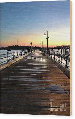 Sunset Pier Wood Print by Extrospection Art