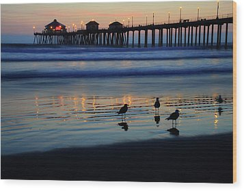 Sunset Pier Wood Print by Pierre Leclerc Photography