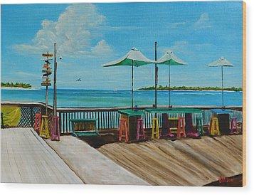 Sunset Pier Tiki Bar - Key West Florida Wood Print by Lloyd Dobson