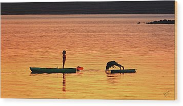 Sunset Play Wood Print by Rick Lawler