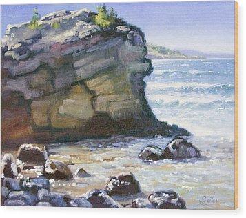 Sunset Point- Presque Isle Park- Lake Superior Wood Print by Larry Seiler