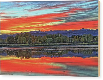 Wood Print featuring the photograph Sunset Ponds by Scott Mahon