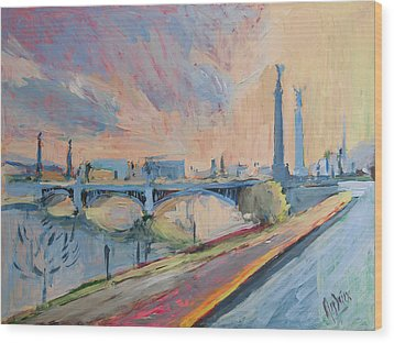 Sunset Pont Fragnee Wood Print by Nop Briex