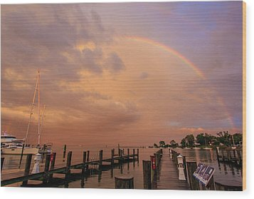 Sunset Rainbow Wood Print by Jennifer Casey
