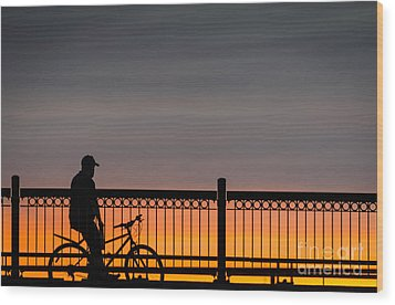 Sunset Reflection Wood Print by Mike Ste Marie