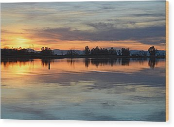 Sunset Reflections Wood Print by AJ Schibig