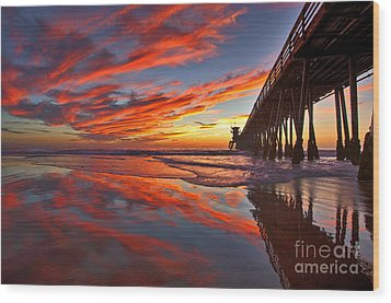 Sunset Reflections At The Imperial Beach Pier Wood Print
