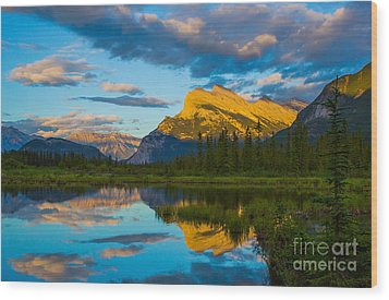 Sunset Reflections In Banff Wood Print