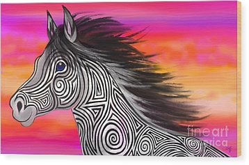 Wood Print featuring the painting Sunset Ride Tribal Horse by Nick Gustafson