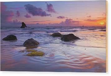 Sunset Ripples Wood Print by Mike  Dawson