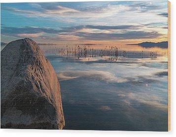 Sunset Rock Wood Print by Justin Johnson
