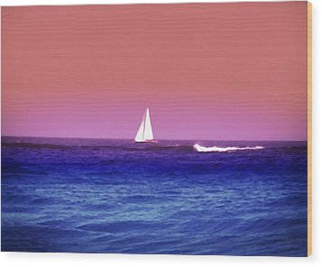 Sunset Sailboat Wood Print by Bill Cannon
