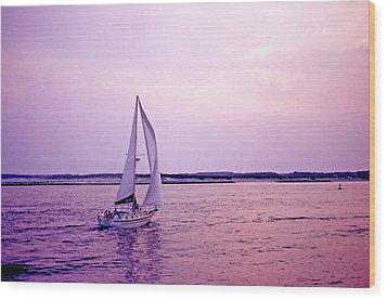 Sunset Sailing Wood Print by Bill Jonscher