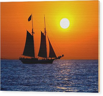 Sunset Sailing In Key West Florida Wood Print by Michael Bessler