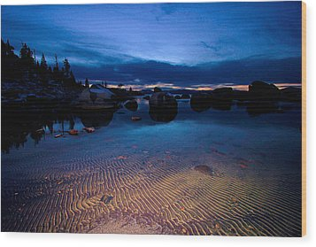 Sunset Sand Ripples Wood Print by Sean Sarsfield