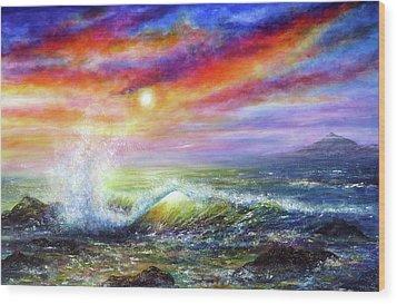 Sunset Sea Wood Print by Ann Marie Bone