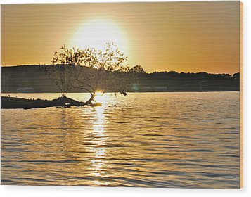 Wood Print featuring the photograph Sunset Silhouette by Teresa Blanton