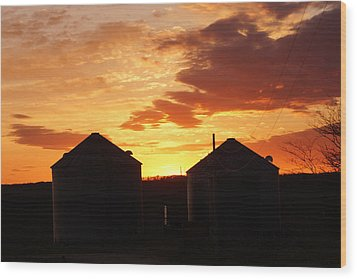 Sunset Silos Wood Print