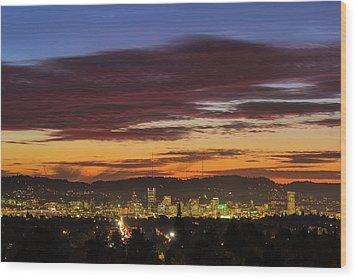 Sunset Sky Over Portland Oregon City Skyline Wood Print by David Gn
