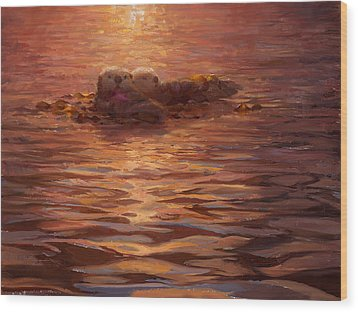 Wood Print featuring the painting Sunset Snuggle - Sea Otters Floating With Kelp At Dusk by Karen Whitworth