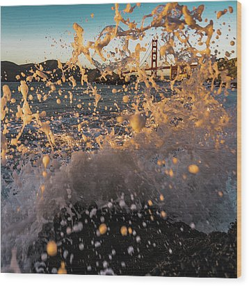Sunset Splash Wood Print