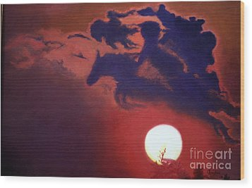 Wood Print featuring the painting Sunset Steeplechase by Cindy Lee Longhini