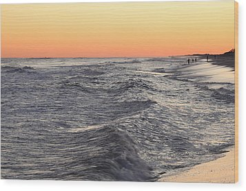 Sunset Surf Fishing Wood Print by Steve Gravano