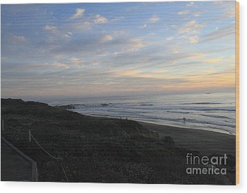 Sunset Surf Wood Print by Linda Woods