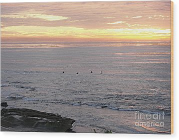 Wood Print featuring the photograph Sunset Surfing by Carol  Bradley