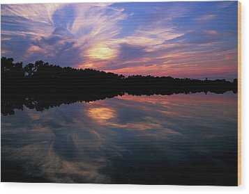 Wood Print featuring the photograph Sunset Swirl by Steve Stuller
