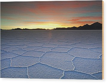 Lake Uyuni Sunset Texture Wood Print