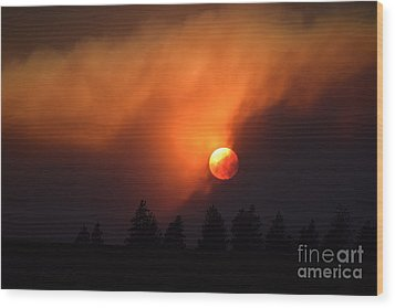 Sunset Through Smoke Wood Print