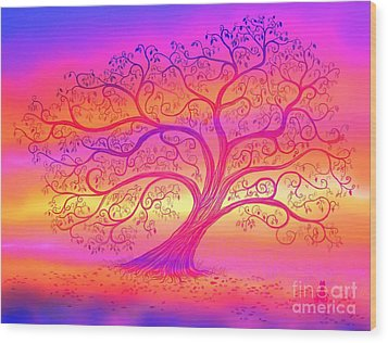 Wood Print featuring the painting Sunset Tree Cats by Nick Gustafson