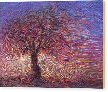 Sunset Tree Wood Print by Hans Droog