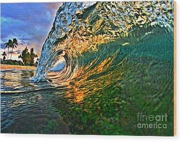 Sunset Tube Wood Print by Paul Topp