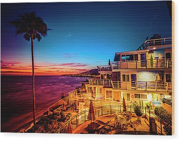 Sunset Twilight At The Laguna Riviera Wood Print