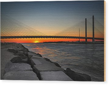 Sunset Under The Indian River Inlet Bridge Wood Print by Bill Swartwout