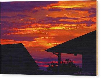 Sunset Va 4736 Wood Print by PhotohogDesigns