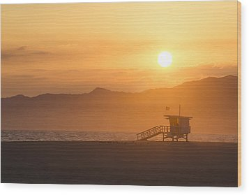 Sunset Venice Beach  Wood Print